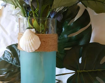 Beachy Sea Glass look Vase/Candle holder