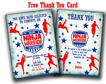American Ninja Warrior Invitation, Ninja Warrior Invite, Ninja Printed or Printable Invitation ,American Ninja Warrior Party, birthday, card