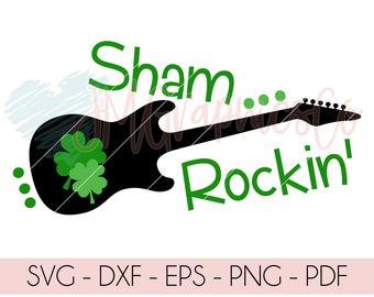 Sham Rockin svg, eps, dxf, png, cricut, cameo, scan N cut, cut file, st patricks day svg, shamrock svg, 1st st patricks day svg, guitar svg