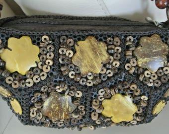Handbag - wood - crochet - vintage - Brown and beige