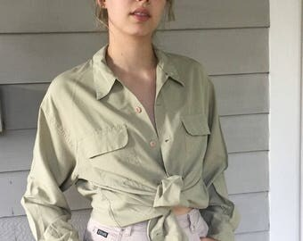 Vintage 90s Light Olive 100% Pocket Shirt Ann Taylor L