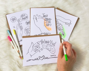 Get well cards coloring card set, sympathy coloring stationery, adult coloring or kids coloring.