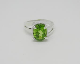 Natural Peridot Silver Ring + Certificate of Genuine Gemstone