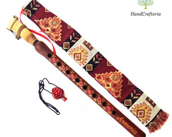 Armenian DUDUK Pomegranate style Apricot Wood Armenian Oboe Balaban Professional Woodwind Instrument-Gift necklace-national case,instruction