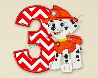 Paw Patrol Marshall Third birthday applique embroidery design, Paw Patrol Machine Embroidery Designs, designs baby, Instant download #074
