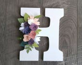 Monogram wall hanger, felt flowers, wood letter, nursery decor, little girl's room, rustic, whimsical, customizable, initial name, colorful