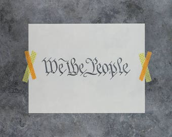 """We The People Stencil - Reusable DIY Craft Wood Sign Stencils of """"We The People"""""""