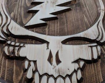 Grateful Dead Steal Your Face, Stealie, Wood Stealie, Deadhead wood art