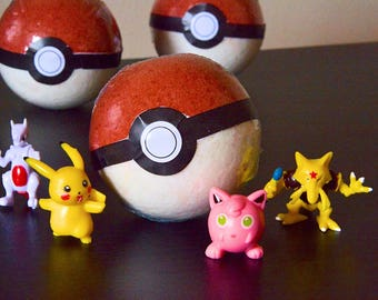 6 SIX Pokemon/Pokeball Bath Bombs (Toy Inside!) Kids Bathtime Fun!