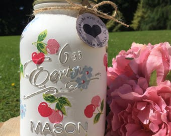 Handmade Cath Kidston Cherry Mason Jar