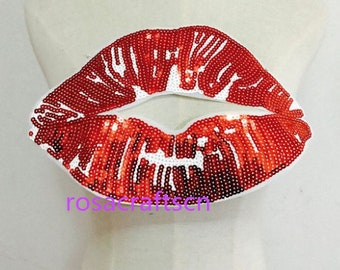 Big Red Lips Sequins Patches Applique iron on Embroidered for Clothes Sticker Diy Party decororation supplies156