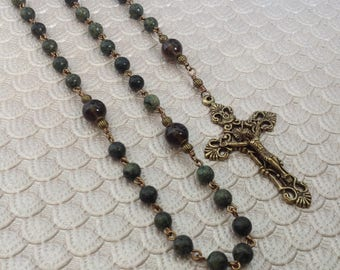 Five Decade Serpentine and Smoky Quartz Gemstone Catholic Rosary with Miraculous Medal