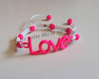 love bracelet neon pink and white