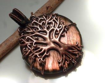 Labradorite pendant with 48mm, Labradorite, pendant - wire wrapped tree of life tree of life