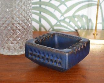 Vintage Art Deco ashtray West Germany ceramic blue dark blue
