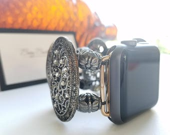 Apple Watch Band 38mm  Apple Watch band 42mm , Antique Black  Oval Filigree with Clear Cut Glass crystals