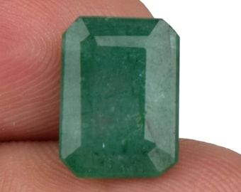 3.95 Cts Natural Green Emerald 11 x 8 mm Faceted Emerald Cut 1 Pcs AA+ Grade Loose Gemstone, 100% Natural Colombian Emerald Gemstone AT-153