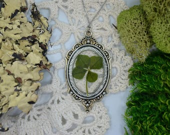 Genuine 4 Leaf Clover Cameo Necklace [LC 029] / Stainless Steel / White Clover Pendant / Triforium Repens Gift / Good Luck Charm
