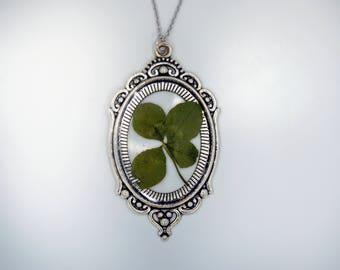 Genuine 4 Leaf Clover Cameo Necklace [LC 032] / Stainless Steel / White Clover Pendant / Triforium Repens Gift / Good Luck Charm