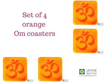 Set of 4 Om coasters, red on yellow and orange blend, fused glass, home, yoga teacher gift, gift for her, gift for him, home decor