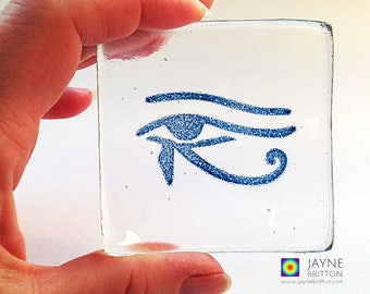 Eye of Horus bowl, fused glass image, clear and blue glass, symbol of protection, egyptian theme, ancient symbol gift