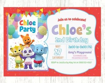 Custom Word Party Invitation (Blue Background & Photo)