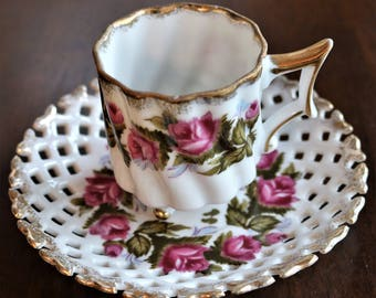 Vintage Relco Demitasse Cup and Saucer - Tea Cup - Lattice Saucer