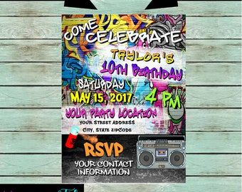 Graffiti Hip Hop Rap Spray Paint Retro 80's Birthday Party Invitations Invites Personalized Custom ~ We Print and Mail to You