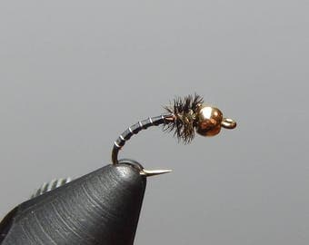 Three (3) Zebra midge flies, size 16-26, for fly fishing
