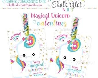 Magical Unicorn VALENTINES, Valentine Favors, Valentine's Day. Unicorn Valentines, Glitter Unicorns Valentine - PERSONALIZED