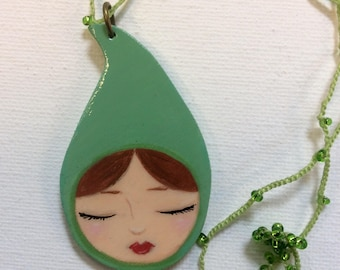 Gnome girl pendant on crochet necklace, Zoownatas