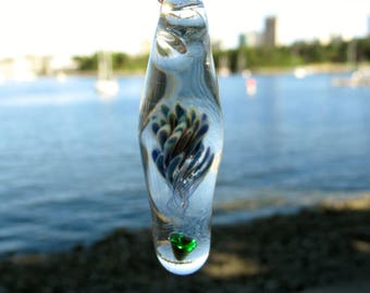 Falling Star- Glass Pendant- Borosilicate and Opal Jewelry-Shooting star necklace