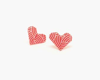 Stud earrings, heart stud earrings, heart earrings, origami earrings, paper earrings, origami jewelry, red earrings, jewelry