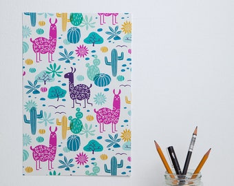 Llama cactus desert pattern illustrated poster - 20x30 cm / 8x12 inch - design by Heleen van den Thillart