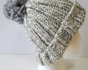 Gray and White Chunky Beanie with Pompom