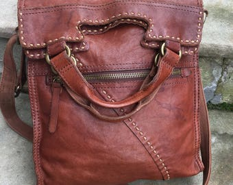 Lucky brand abbey road lamb leather crossbody bag/ distressed brown leather/ lamb leather