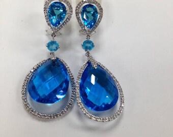 Drop Down Tear Shape Earrings, Diamond and London Blue Topaz Hand Setting Earring 14Karat White Gold Drop Down Earrings