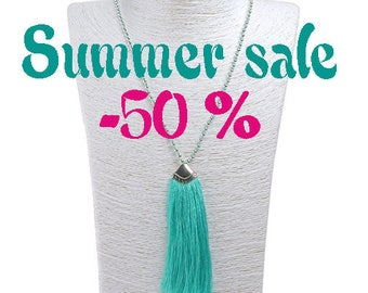 SUMMER SALE / / / boho Balinese Variation Mint blue necklace / / / necklace with a silky cotton tassel and silver beads
