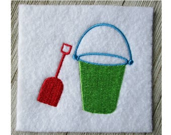 Sand Bucket and Shovel Design, Machine Embroidery Design, Summer Design, Filled Stitch, 7 Sizes
