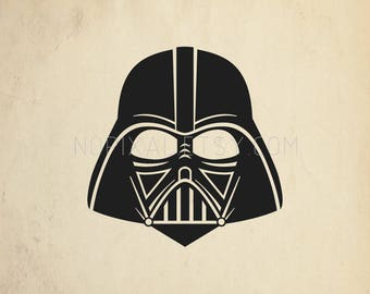SVG - DXF Darth Vader Head Starwars Character Silhouette Stencils Vector Arts for Prints, Cricut, Cameo, Cut Files