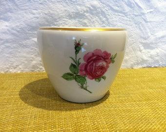 vintage plant pot can, flower decor, porcelain