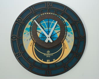 "Oversized wall clock ""Prague"" / wall clock 45x45 cm / MDF wall clock / colorful clock with print"