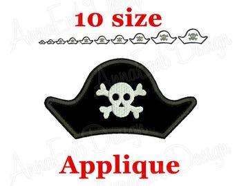 Pirate Hat Applique Embroidery Design. Pirate Hat Skull and Bones. Pirate Hat mini. Pirate Hat embroidery. Machine Embroidery.