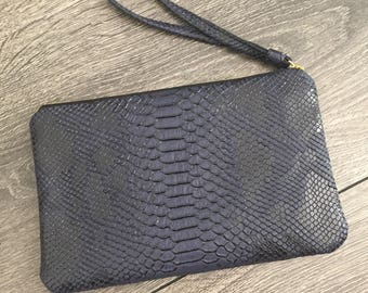 Dark blue faux leather snakeskin evening bag