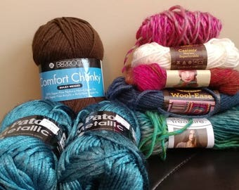 YARN DESTASH- Mixed Lot of FULL and Partial Skeins of Various Brands