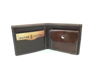 Men's Leather Wallet, Handmade Leather Wallet, Minimal Leather Wallet, Brown Leather Wallet