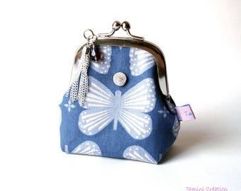 Porte monnaie rétro porte monnaie pour femme en tissu japonais bleu Butterfly