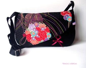 Sac besace, sac à main femme tissu japonais noir fleuri Ayuka noir