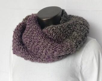 Chunky Greystone Stripe Knit Infinity Scarf