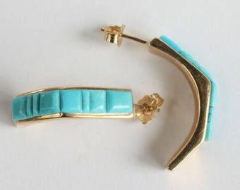 14k Turquoise Earrings Hoops Navajo Indian 14k Gold Native American